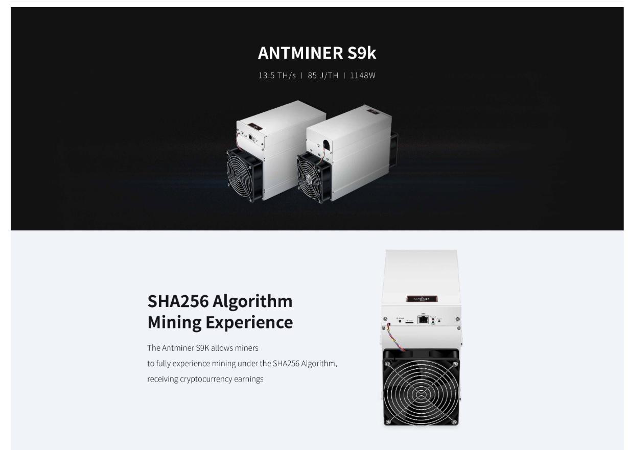 Antminer S9k 13.5TH/s